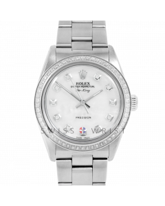 Pre-owned Rolex 34mm Stainless Steel Airking Watch with MOP Diamond Dial & Diamond Bezel  On Oyster Bracelet