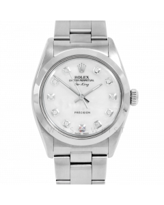 Rolex Airking 34 5500 Stainless Steel, Custom MOP Diamond Dial, Smooth Bezel On Oyster Bracelet, Men's Pre-Owned Watch