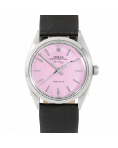 Rolex Airking 34 5500 Stainless Steel, Pink Stick Dial, Smooth Bezel On Black Leather Strap, Men's Pre-Owned Watch