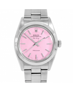 Rolex Airking 34 5500 Stainless Steel, Pink Stick Dial, Smooth Bezel On Oyster Bracelet, Men's Pre-Owned Watch