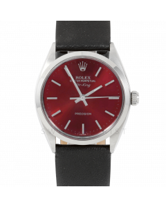 Rolex Airking 34 5500 Stainless Steel, Red Stick Dial, Smooth Bezel On Black Leather Strap, Men's Pre-Owned Watch