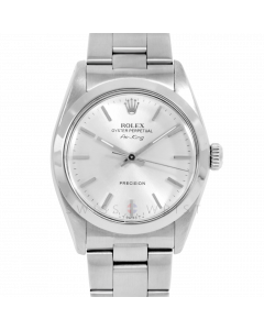 Rolex Airking 34 5500 Stainless Steel, Silver Stick Dial, Smooth Bezel On Oyster Bracelet, Men's Pre-Owned Watch