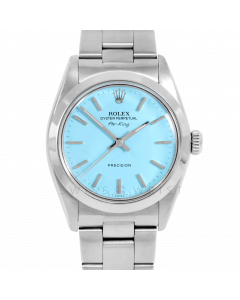 Rolex Airking 34 5500 Stainless Steel, Turquoise Stick Dial, Smooth Bezel On Oyster Bracelet, Men's Pre-Owned Watch