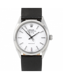 Rolex Airking 34 5500 Stainless Steel, White Stick Dial, Smooth Bezel On Black Leather Strap, Men's Pre-Owned Watch