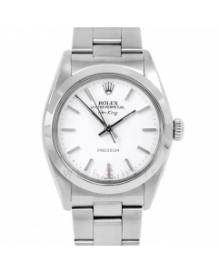 Rolex Airking 34 5500 Stainless Steel, White Stick Dial, Smooth Bezel On Oyster Bracelet, Men's Pre-Owned Watch