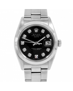 Rolex Date Model 1500 - Black Diamond Dial - Stainless Steel - Smooth Bezel On A Oyster Bracelet - Pre-Owned
