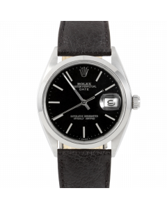 Rolex Date 34 1500 Steel, Black Stick Dial, Smooth  Matte Black Leather Strap, Men's Pre-Owned Watch