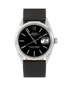 Rolex Date 34 1500 Stainless Steel, Black Stick Dial, Smooth Bezel On Black Leather Strap, Men's Pre-Owned Watch