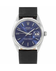 Rolex 34mm Date Model - Blue Stick Dial - Stainless Steel - Smooth Bezel On A Black Leather Strap - Pre-Owned