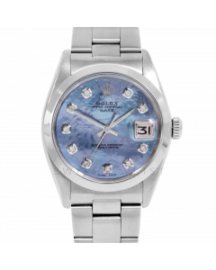 Rolex Date Model 1500 - Custom Blue Mother Of Pearl Diamond Dial - Stainless Steel - Smooth Bezel On A Oyster Bracelet - Pre-Owned