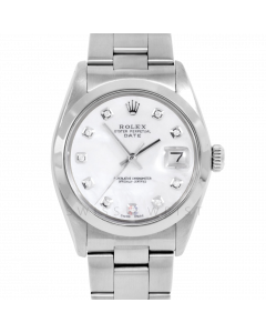 Rolex Date 34 1500 Stainless Steel, Custom MOP Diamond Dial, Smooth Bezel On Oyster Bracelet, Men's Pre-Owned Watch