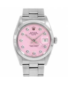 Rolex Date 34 1500 Stainless Steel, Custom Pink Diamond Dial, Smooth Bezel On Oyster Bracelet, Men's Pre-Owned Watch