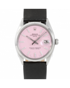 Rolex Date 34 1500 Stainless Steel,  Pink Stick Dial, Smooth Bezel On Black Leather Strap, Men's Pre-Owned Watch