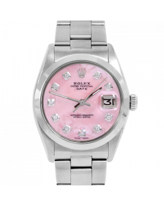 Rolex Date 34 1500 Stainless Steel, Custom Pink MOP Diamond Dial, Smooth Bezel On Oyster Bracelet, Men's Pre-Owned Watch