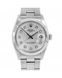 Rolex Date 34 1500 Stainless Steel, Custom Silver Diamond Dial, Smooth Bezel On Oyster Bracelet, Men's Pre-Owned Watch