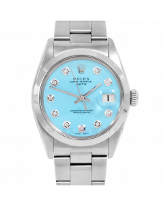 Rolex Date 34 1500 Stainless Steel, Custom Turquoise Diamond Dial, Smooth Bezel On Oyster Bracelet, Men's Pre-Owned Watch