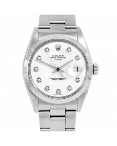 Rolex Date 34 1500 Stainless Steel, Custom White Diamond Dial, Smooth Bezel On Oyster Bracelet, Men's Pre-Owned Watch