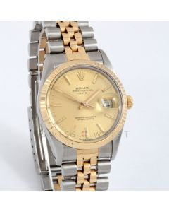 Rolex Date 34 mm 15053 Yellow Gold & Stainless Steel w/ Champagne Stick Dial & Fluted Bezel with Jubilee Bracelet - Men's Pre-Owned Watch