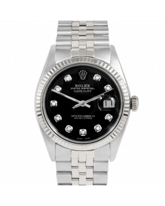 Rolex Datejust 36 1601 White Gold & Steel, Custom Black Diamond Dial, Fluted Bezel On Jubilee Bracelet, Men's Pre-Owned Watch