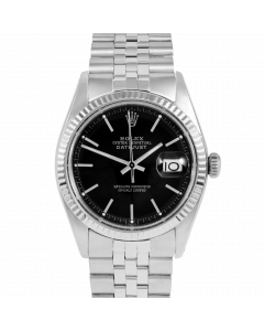 Rolex Datejust 36 1601 White Gold & Steel, Black Stick Dial, Fluted Bezel On Jubilee Bracelet, Men's Pre-Owned Watch