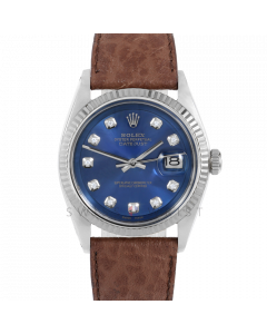 Rolex Datejust 36 1601 White Gold & Steel, Custom Blue Diamond Dial, Fluted Bezel On Brown Buffalo Leather Strap, Men's Pre-Owned Watch