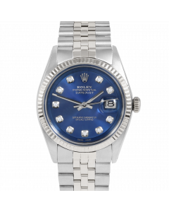 Rolex Datejust 36 1601 White Gold & Steel, Custom Blue Diamond Dial, Fluted Bezel On Jubilee Bracelet, Men's Pre-Owned Watch