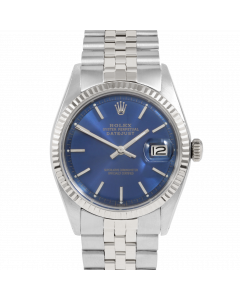 Rolex Datejust 36 1601 White Gold & Steel, Blue Stick Dial, Fluted Bezel On Jubilee Bracelet, Men's Pre-Owned Watch