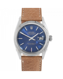 Rolex Datejust 36 1601 White Gold & Steel, Blue Stick Dial, Fluted Bezel On Tan Leather Strap, Men's Pre-Owned Watch