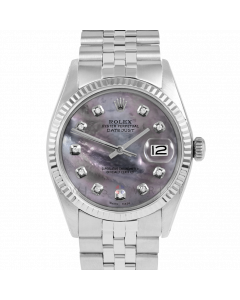Rolex Datejust 36 1601 White Gold & Steel, Custom Black MOP Diamond Dial, Fluted Bezel On Jubilee Bracelet, Men's Pre-Owned Watch