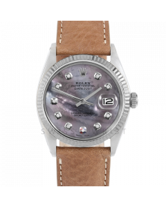 Rolex Datejust 36 1601 White Gold & Steel, Custom Black MOP Diamond Dial, Fluted Bezel On Tan Leather Strap, Men's Pre-Owned Watch