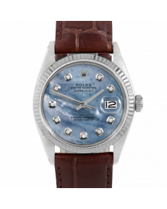 Rolex Datejust 36 1601 White Gold & Steel, Custom Blue MOP Diamond Dial, Fluted Bezel On Brown Alligator Leather Strap, Men's Pre-Owned Watch