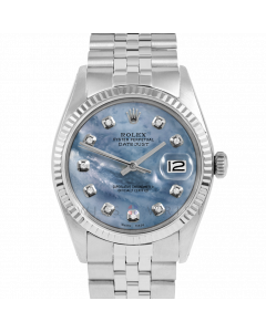 Rolex Datejust 36 1601 White Gold & Steel, Custom Blue MOP Diamond Dial, Fluted Bezel On Jubilee Bracelet, Men's Pre-Owned Watch
