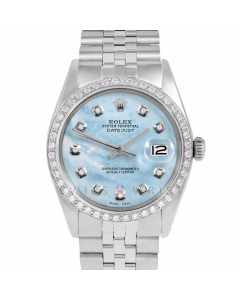 Rolex Datejust 36 1601 Stainless Steel, Custom Light Blue MOP Diamond Dial, 1ct Diamond Bezel On Jubilee Bracelet, Men's Pre-Owned Watch