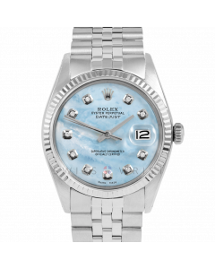 Rolex Datejust 36 1601 White Gold & Steel, Custom Light Blue MOP Diamond Dial, Fluted Bezel On Jubilee Bracelet, Men's Pre-Owned Watch