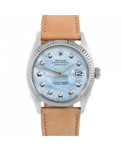 Rolex Datejust 36 1601 White Gold & Steel, Custom Light Blue MOP Diamond Dial, Fluted Bezel On Taupe Leather Strap, Men's Pre-Owned Watch