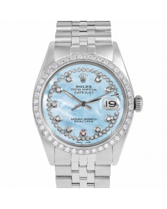 Rolex Datejust 36 1601 Stainless Steel, Custom Light Blue MOP String Diamond Dial, 1ct Diamond Bezel On Jubilee Bracelet, Men's Pre-Owned Watch