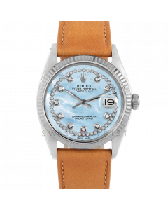 Rolex Datejust 36 1601 White Gold & Steel, Custom Light Blue MOP String Diamond Dial, Fluted Bezel On Tan Leather Strap, Men's Pre-Owned Watch