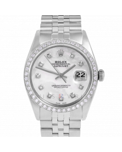 Rolex Datejust 36 1601 Stainless Steel, Custom MOP Diamond Dial, 1ct Diamond Bezel On Jubilee Bracelet, Men's Pre-Owned Watch