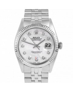 Rolex Datejust 36 1601 White Gold & Steel, Custom MOP Diamond Dial, Fluted Bezel On Jubilee Bracelet, Men's Pre-Owned Watch