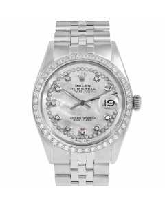 Rolex Datejust 36 1601 Stainless Steel, Custom MOP String Diamond Dial, 1ct Diamond Bezel On Jubilee Bracelet, Men's Pre-Owned Watch