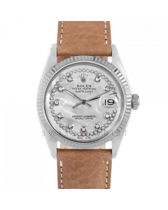 Rolex Datejust 36 1601 White Gold & Steel, Custom MOP String Diamond Dial, Fluted Bezel On A Dark Tan Leather Strap, Men's Pre-Owned Watch