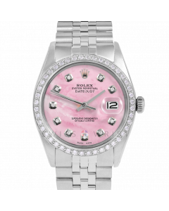 Rolex Datejust 36 1601 Stainless Steel, Custom Pink MOP Diamond Dial, 1ct Diamond Bezel On Jubilee Bracelet, Men's Pre-Owned Watch