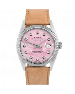 Rolex Datejust 36 1601 White Gold & Steel, Custom Pink MOP Diamond Dial, Fluted Bezel On Taupe Leather Strap, Men's Pre-Owned Watch