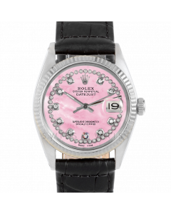 Rolex Datejust 36 1601 White Gold & Steel, Custom Pink MOP String Diamond Dial, Fluted Bezel On Black Alligator Leather Strap, Men's Pre-Owned Watch