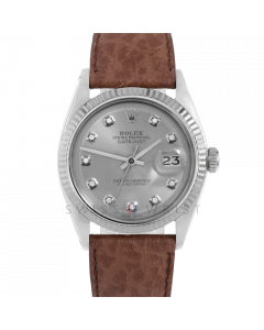 Rolex Datejust 36 1601 White Gold & Steel, Custom Slate Diamond Dial, Fluted Bezel On Brown Buffalo Leather Strap, Men's Pre-Owned Watch