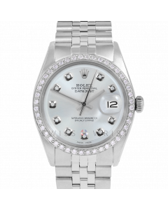 Rolex Datejust 36 1601 Stainless Steel, Custom Silver Diamond Dial, 1ct Diamond Bezel On Jubilee Bracelet, Men's Pre-Owned Watch