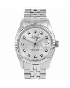 Rolex Datejust 36 1601 White Gold & Steel, Custom Silver Diamond Dial, Fluted Bezel On Jubilee Bracelet, Men's Pre-Owned Watch