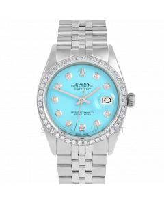 Rolex Datejust 36 1601 Stainless Steel, Custom Turquoise Diamond Dial, Custom 1ct Diamond Bezel On Jubilee Bracelet, Men's Pre-Owned Watch