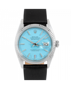 Rolex Datejust 36 1601 White Gold & Steel, Turquoise Stick Dial, Fluted Bezel On Black Leather Strap, Men's Pre-Owned Watch