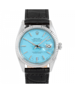Rolex Datejust 36 1601 White Gold & Steel, Turquoise Stick Dial, Fluted Bezel On Black Alligator Leather Strap, Men's Pre-Owned Watch